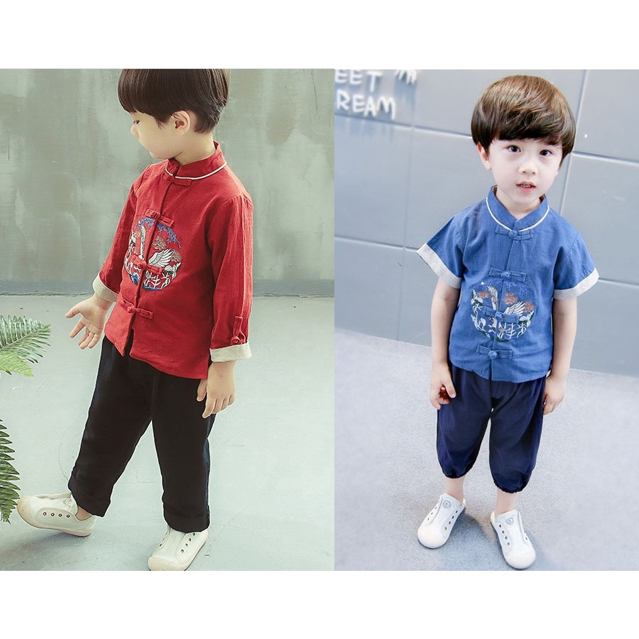 7d03ed3e9e Boys and girls retro Tang suit two-piece Hanfu children's wear