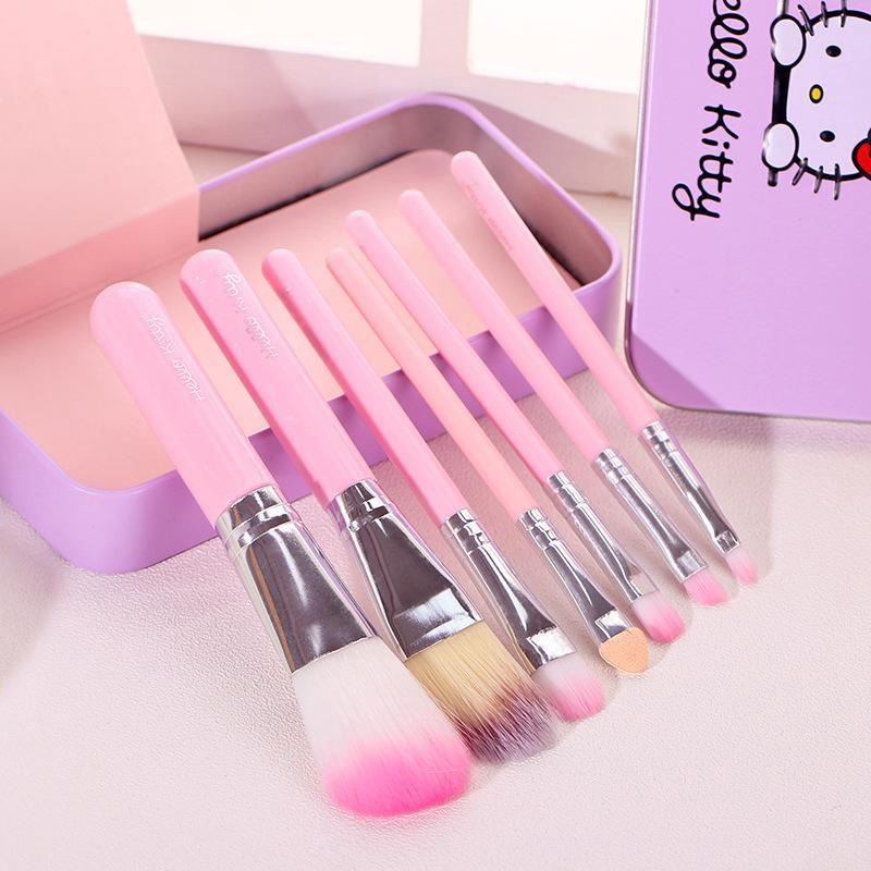 0a441428c 7 in 1 Hello Kitty Box Case Makeup Brush Powder Cosmetic Kit ...