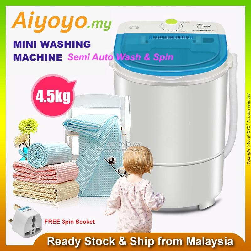 Mini Washing Machine 4.5kg Semi Auto Laundry Clothes Washer Spinner Dehydration Single Barrel Hostel Home