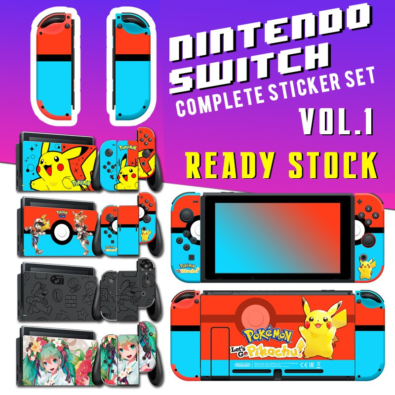 Nintendo Switch Skin Decals  Sticker Set for Console + TV Dock