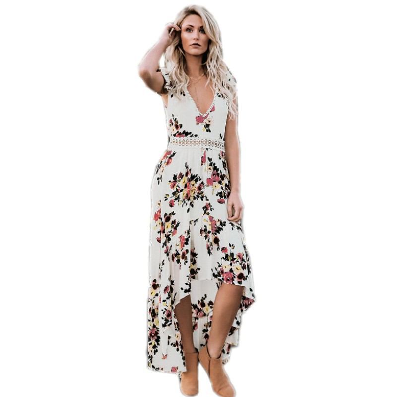 2aeb57e78b Floral Print Lace Boho Maxi Dress Sexy Deep V Neck Summer Long Dresses For  Women