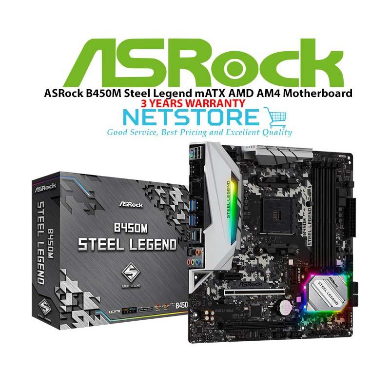 ASRock B450M Steel Legend AM4 AMD Promontory B450 mATX Motherboard