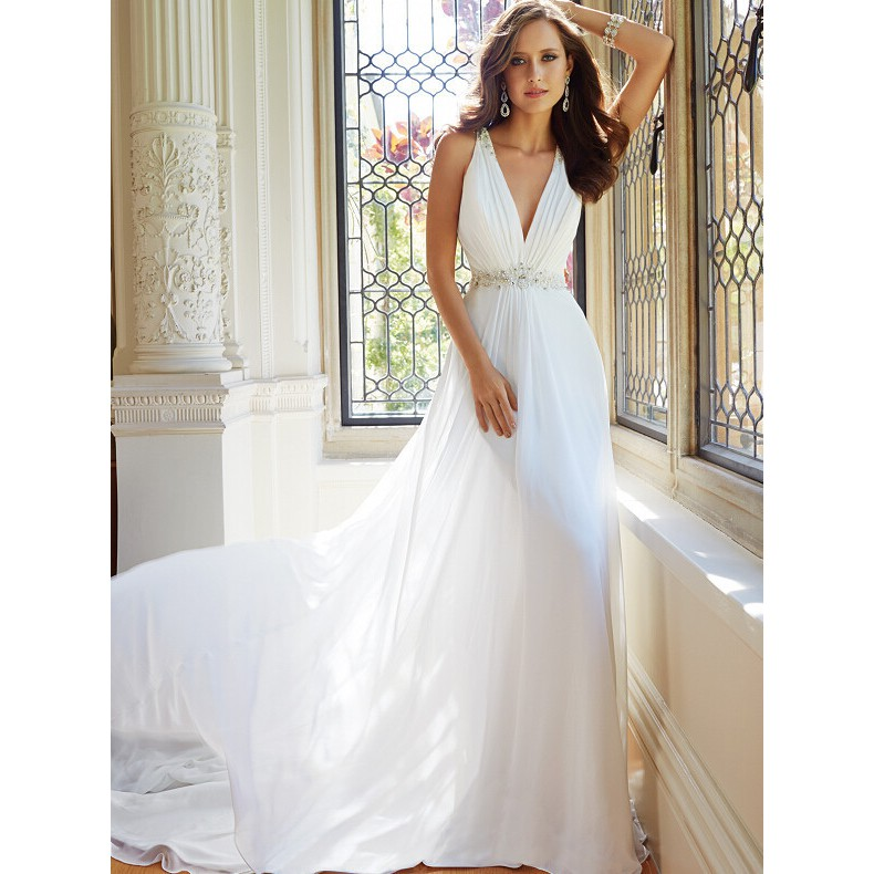 94dfdc908267f Open back deep v-neck small trailing wedding dress