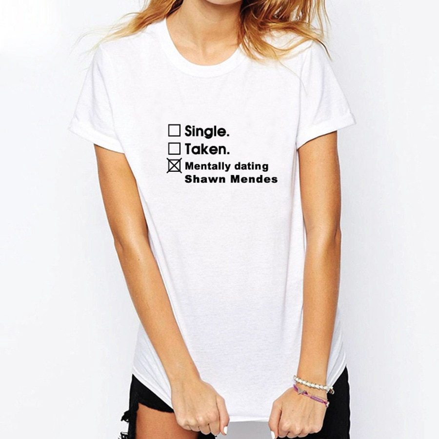 5aad9924 Shawn Mendes Shirt Single Taken Mentally Dating Letter Print Women Men T- Shirts | Shopee Malaysia