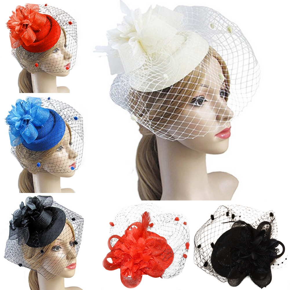 f8e193c0 Fascinating Hair Clip Hat Bowler Feather Flower Veil Wedding Party Hat |  Shopee Malaysia