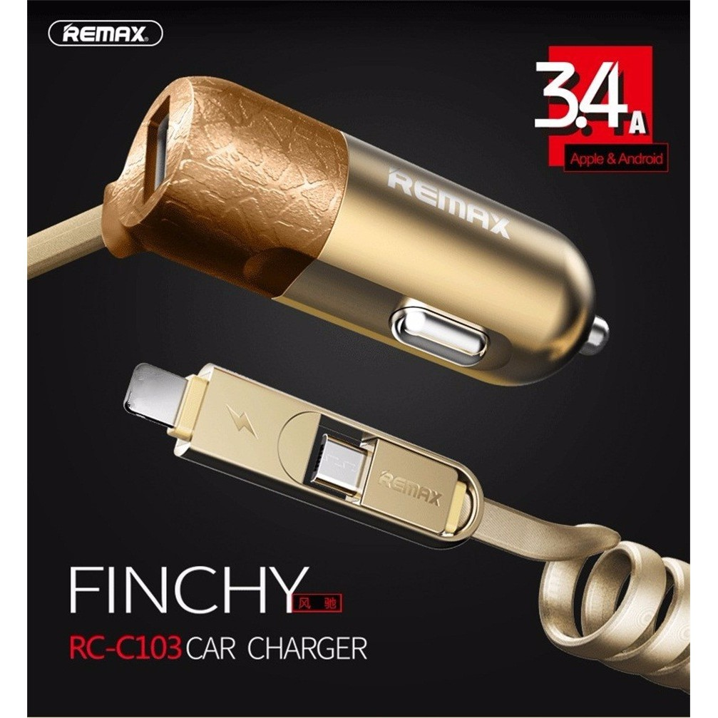 Remax RCC103 Fast Charge Car Charger with Double Cable for Ipohne/Android Phone