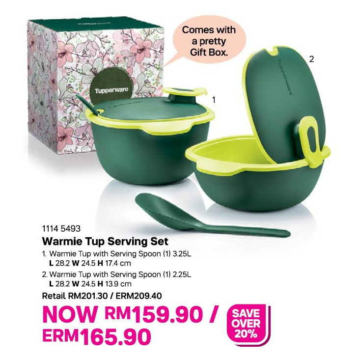 TUPPERWARE Warmie Tup Serving Set with Spoon 3.25L & 2.25L
