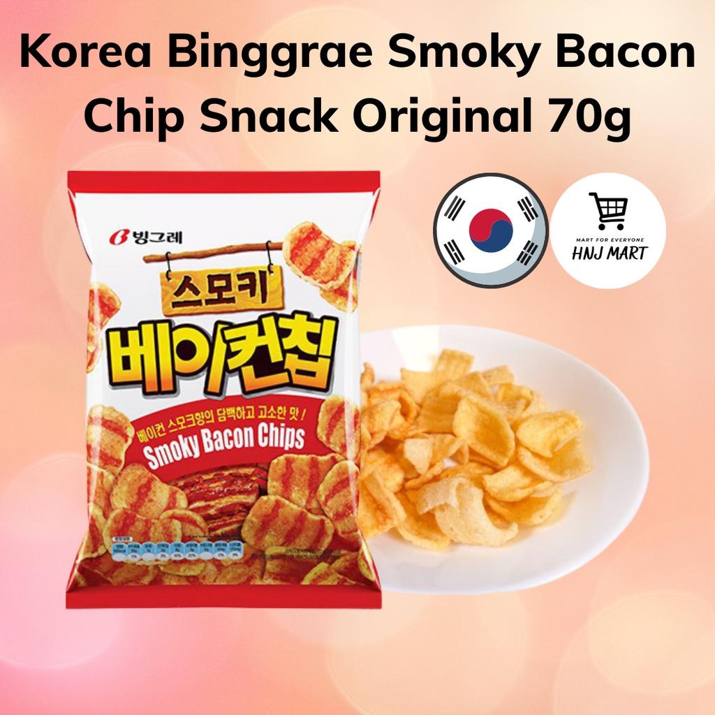 Korea Binggrae Smoky Bacon Chip Snack Original 70g 烟熏培根零食 빙그레 돌아온 스모키 베이컨 칩
