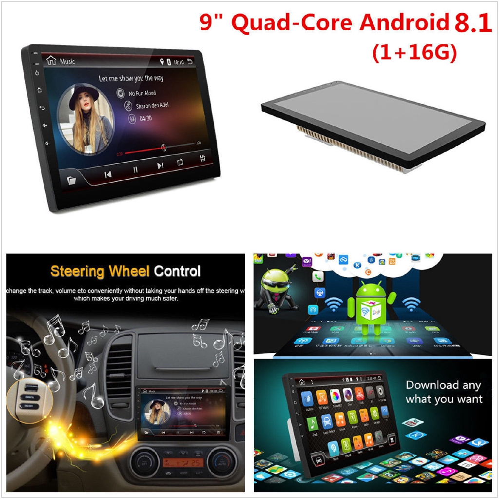 9'' Car Stereo 2DIN Android 8 1 Quad Core WIFI DAB GPS Nav Radio Video  Player