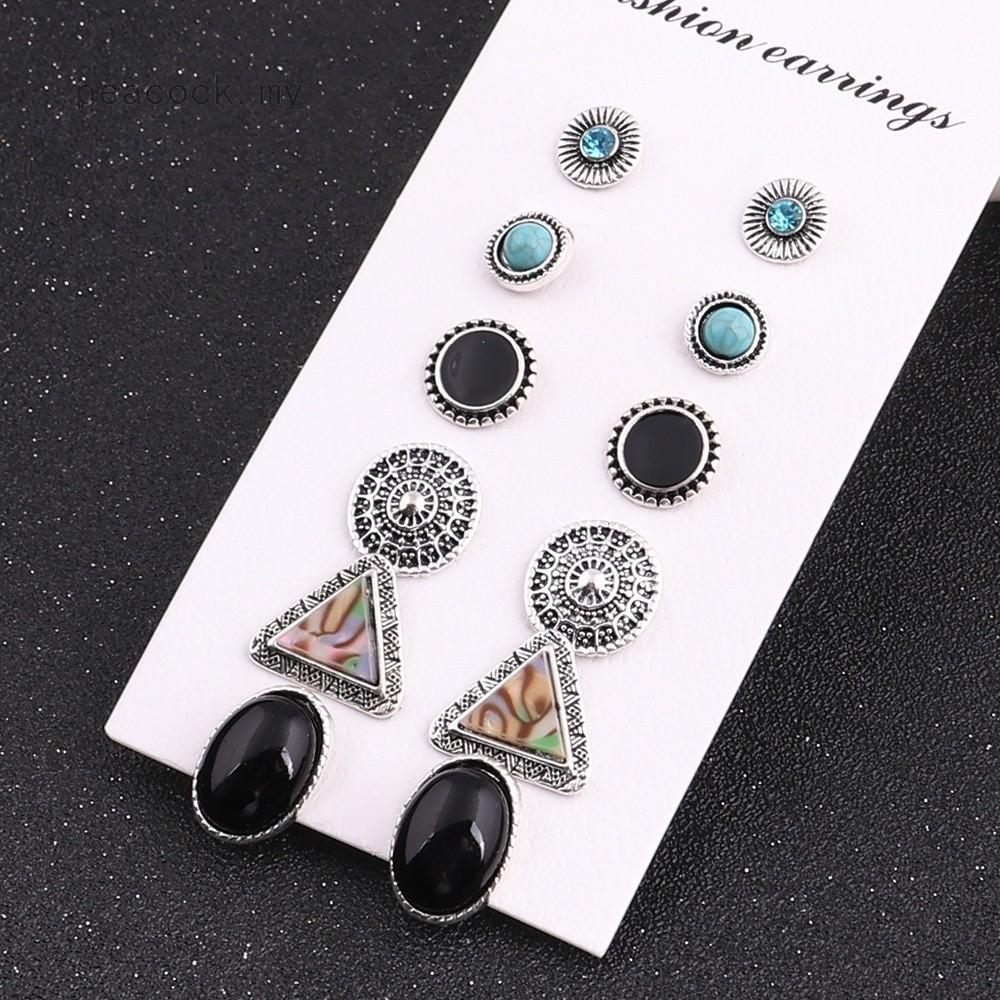 fb0c43c73 Black Rhinestone Vintage Turquoise Earring Set Natural Stone Oval Earrings  Jewelry Set Gifts