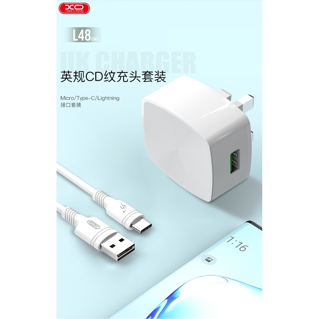 XO L48 UK PIN USB ADAPTER FAST CHARGER ONE USB QC3.0 QUICK CHARGE WITH FOC CHARGING CABLE 3A INTELLIGENT CHARGE
