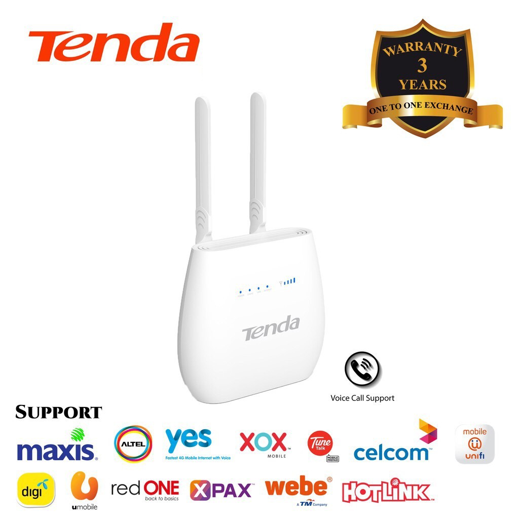 TENDA WIFI N300 4G LTE MODEM ROUTER WITH VOICE SERVICE (4G680V2 0)