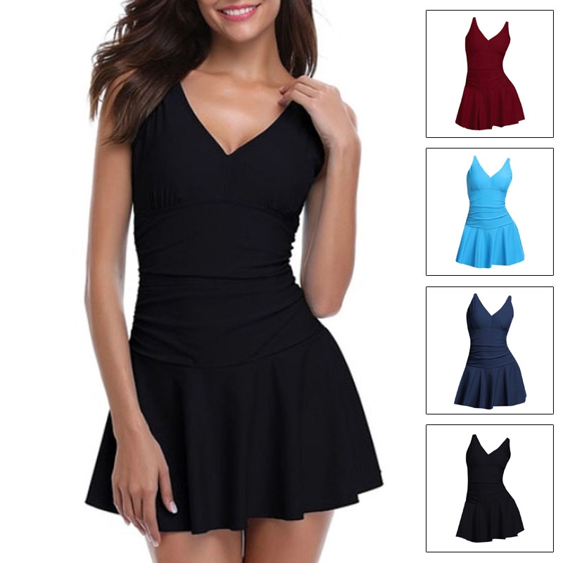 21da58ce44190 Women V-neck Swimsuit Skirted Swimwear Swim Dress Tankini Costume Plus Sz  S~5XL