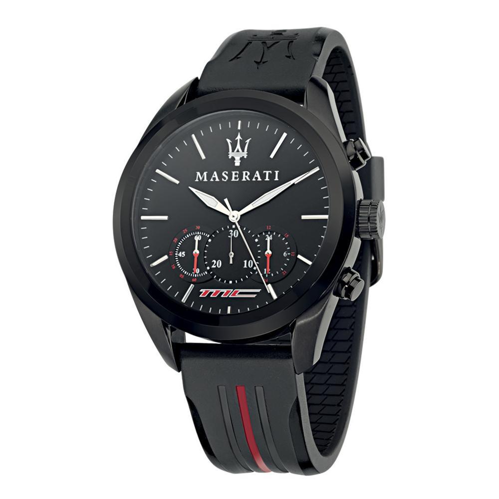 Maserati Traguardo Black Leather Quartz Chronograph Watches R8871612004