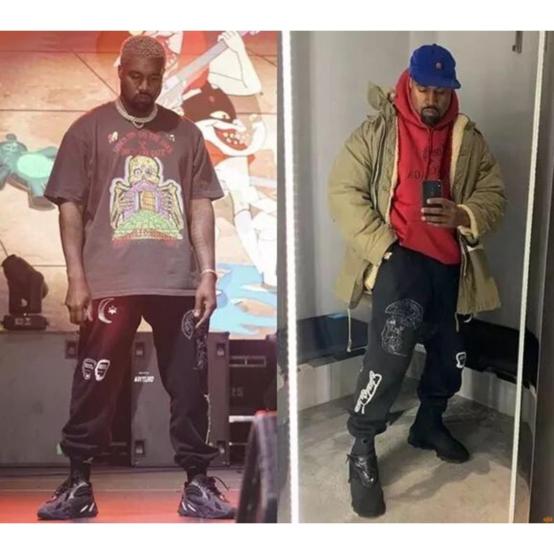 Kanye West with the same paragraph Brain Dead Gustavo Sweatpants casual  trousers