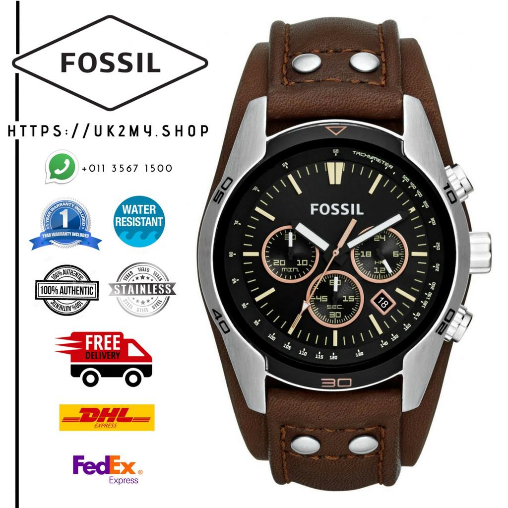 Fossil Coachman Chronograph Black Dial Brown Leather Ch2891 Mens Jam Tangan Original Watch Shopee Malaysia