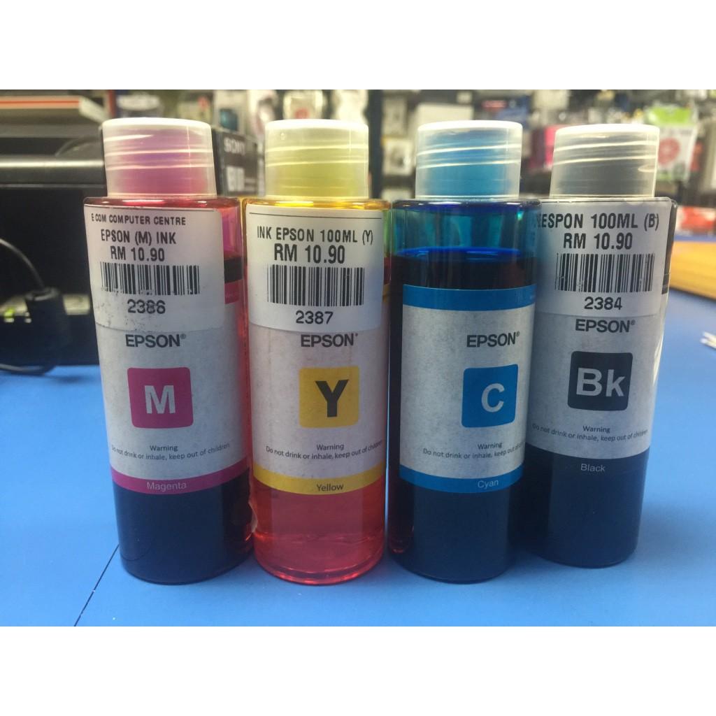 Epson T664 Original Refill Ink L120 L210 L360 L405 L565 L385 L1300 Tinta Sun Kit Hp Black And Colour L310 Shopee Malaysia
