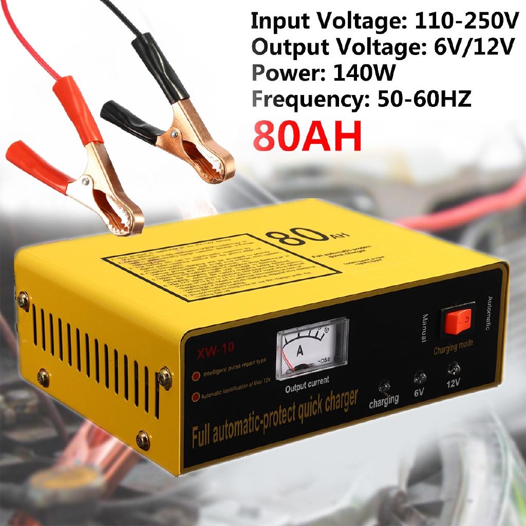 ⚫YO⚫ 6V/12V 80AH Truck Auto Car Battery Charger Negetive