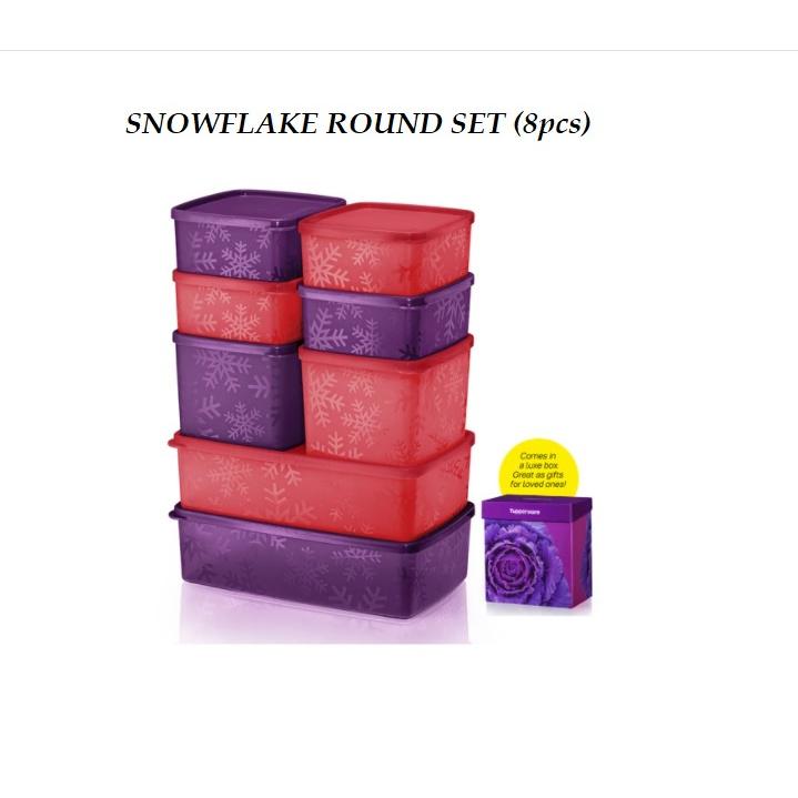 New Tupperware Snowflake Square Round Set With Gift Box 8pcs