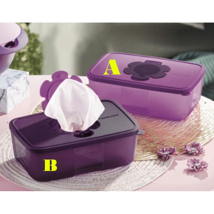 Tupperware Purple Royale Tissue Box 1.7L (1)/ Face mask keeper
