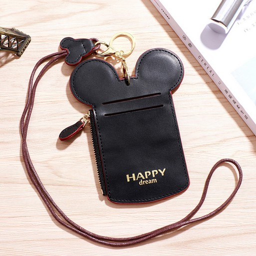 Mickey Mouse Shaped Name ID Card Holder Badge Wallet Purse Neck Lanyard Case New