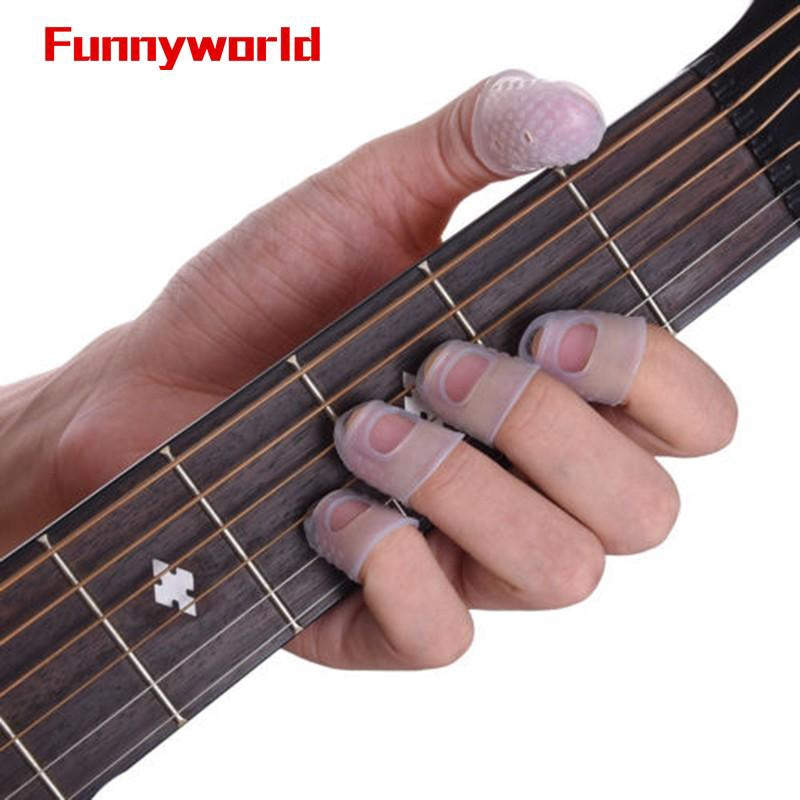 Silicone Rubber Fingertip Protectors Fingerstall And Guitar Finger Picks with Plastic Box for Guitar Ukulele Beginners
