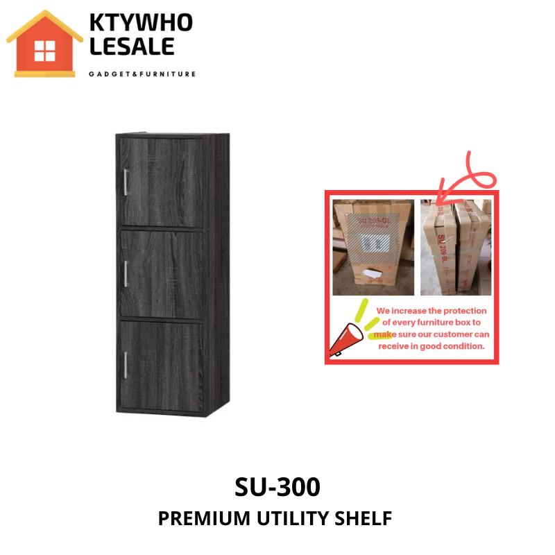 DIY 3 Compartment Shelf with Doors H 118cm W 40cm D 39cm/Utility Shelf/Book Rack/Storage Cabinet/Book Shelf(SU 300)