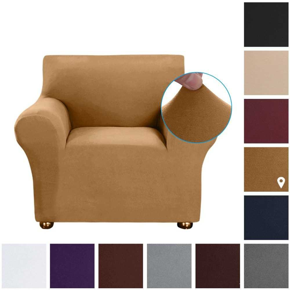 Stretch Sofa Slipcover Milk Silk Fabric Anti-Slip Soft Couch Sofa Cover 1 Seater Washable for Living Room Kids Pets(Cam