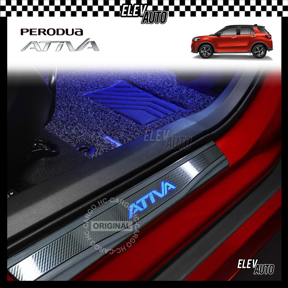 Perodua Ativa LED CARBON Series Stainless Steel Side Step Sill Step Sill Plate Door Step Scuff Perodua Ativa Accessories