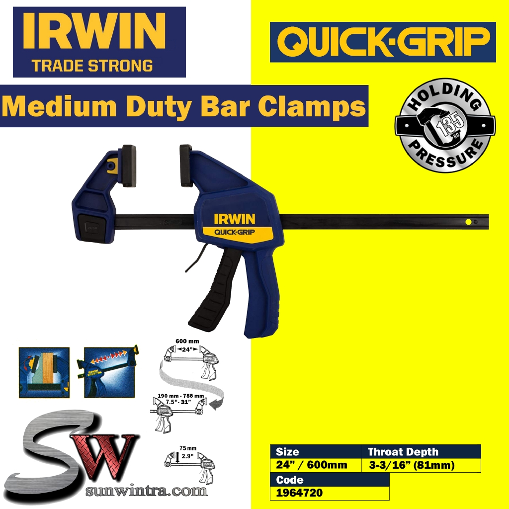 24in IRWIN Quick-Grip T524QCEL7 NEW Quick-Change Bar Clamp 600mm