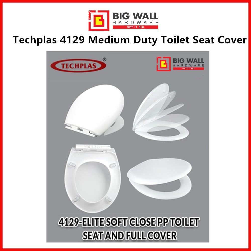 Techplas 4129 Medium Duty Toilet Seat Cover With Soft Close Feature Elite (White) Penutup Tempat Duduk Tandas