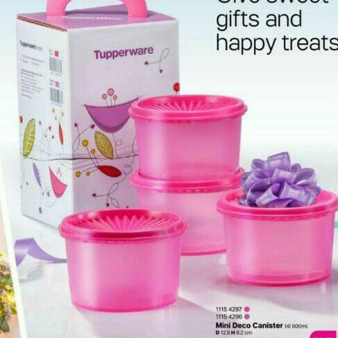 Tupperware mini deco canister 600ml (4pcs) with gift box