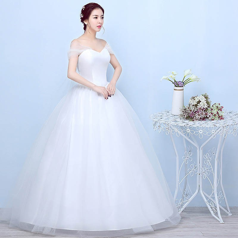 b83337d9cacc3 Women Ball Gown Dress Yarn Lace Slash Neck Princess Bridal Wedding Dresses  S-3XL