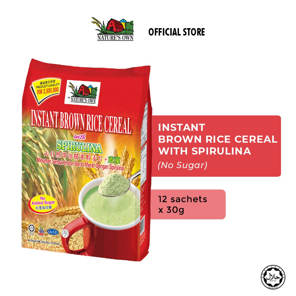 Nature's Own Instant Brown Rice Cereal with Spirulina - No Sugar