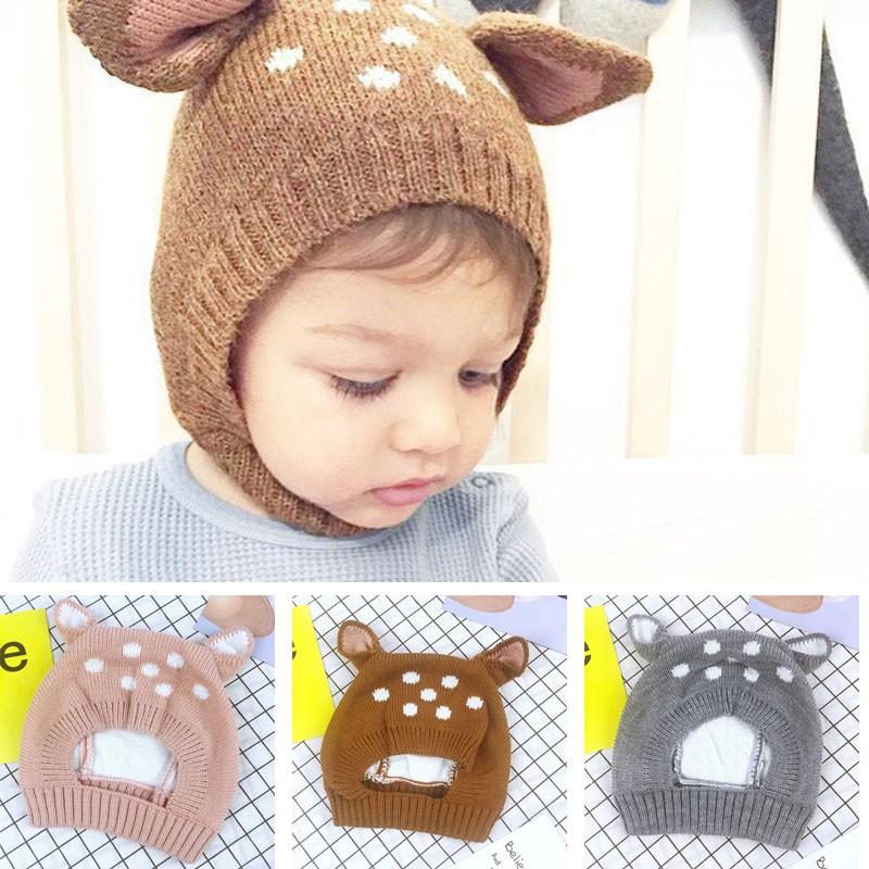 [พร้อมส่ง ของถึงไทยเเล้ว] หมวกผ้าถักลายกวางน่ารักสำหรั