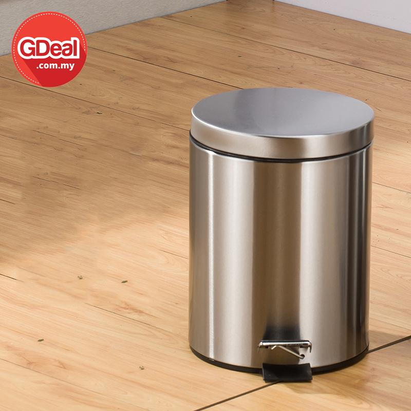 GDeal 10L Round Stainless Steel Pedal Trash Can Bathroom Garbage Bin Tong Sampah توڠ سمڤه