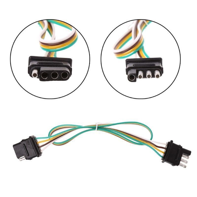 4-Pin Plug 2ft Trailer Light Wiring Harness Extension 18 AWG Flat Wire on trailer coupler types, trailer hitch types, hair extension types, wiring harness connector types,