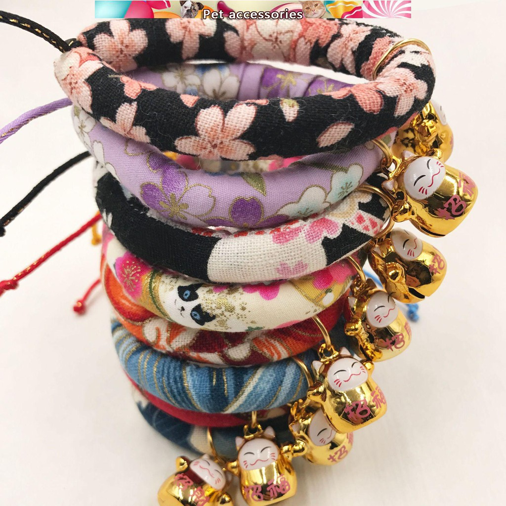 Japanese Style Cat Collar Cat Bell Dog Lettering Pet Collar Diy Cat Rope Necklac