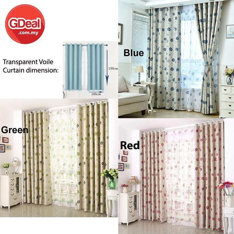 GDeal 1pcs Transparent Voile Flower deko Curtain Home Bedroom Punching Short Design Cuatins Langsir 100cm x 130cm