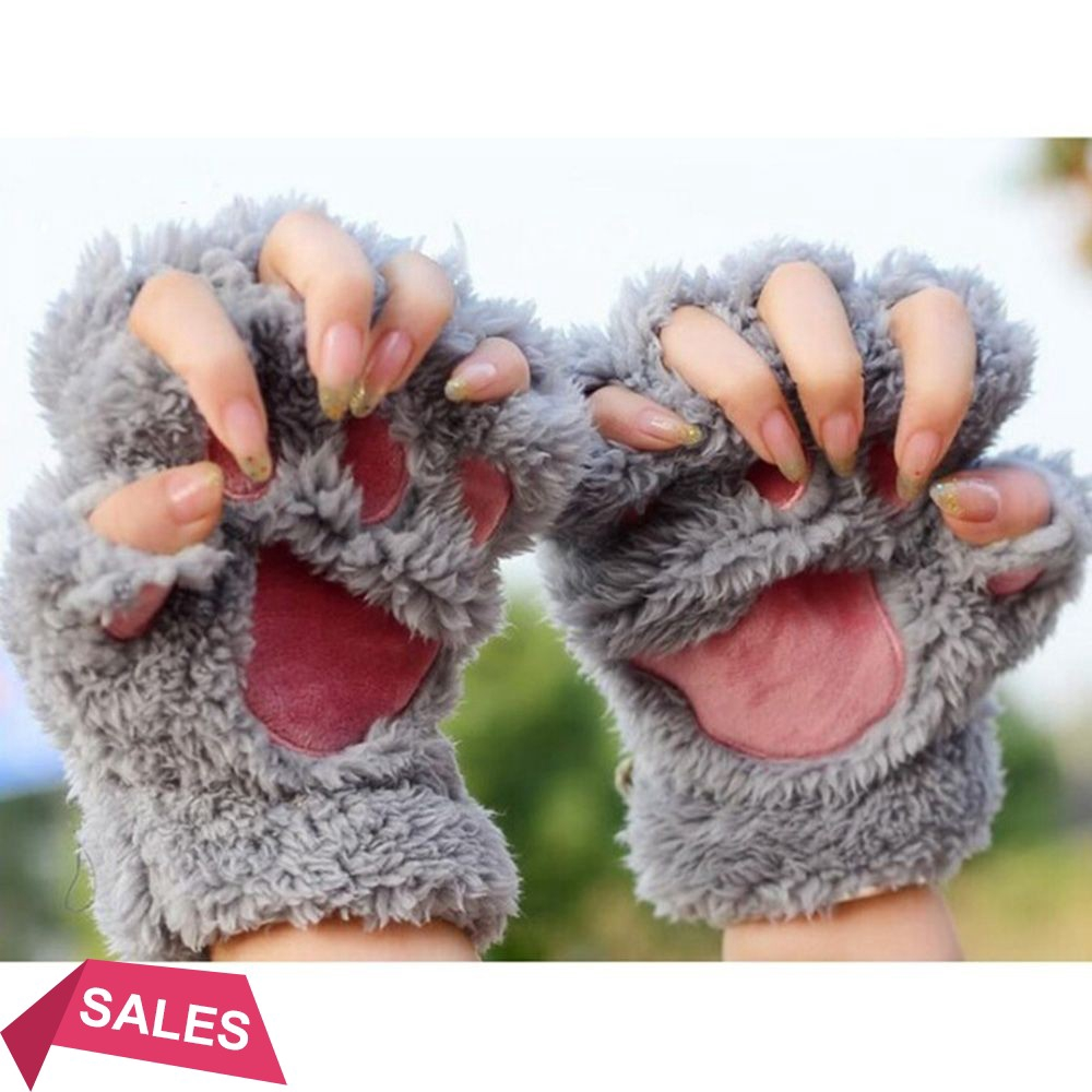 Cute Bear Paw Claw Plush Gloves Mittens Fluffy Winter Half Finger Gloves for Unisex Adults Kids