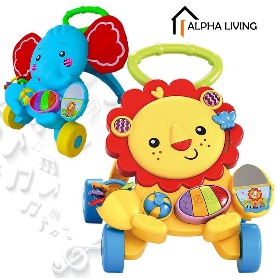 Baby Walker Piano Musical & Lights Push Trolley Lion/Elephant