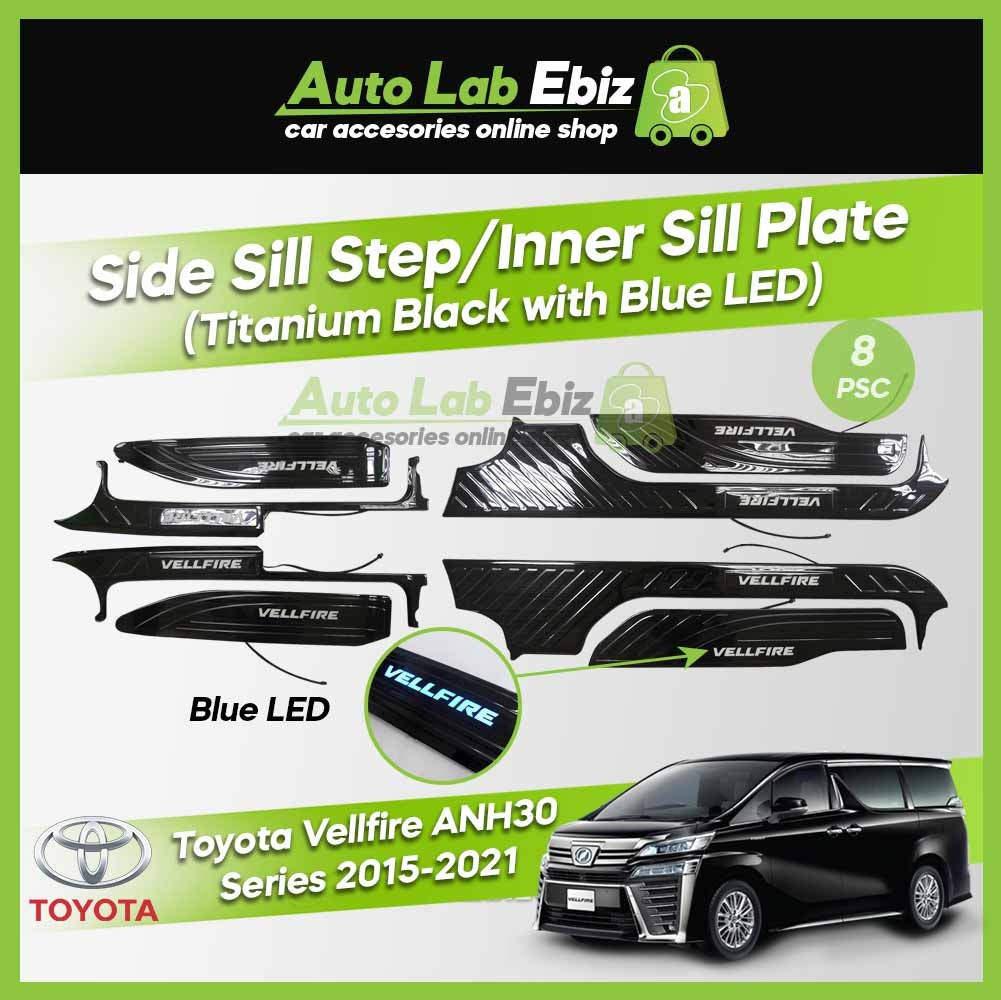 Toyota Vellfire ANH30 2015-2021 Side Sill Step / Inner Sill Plate Titanium Black with LED Blue (8 pcs/set)