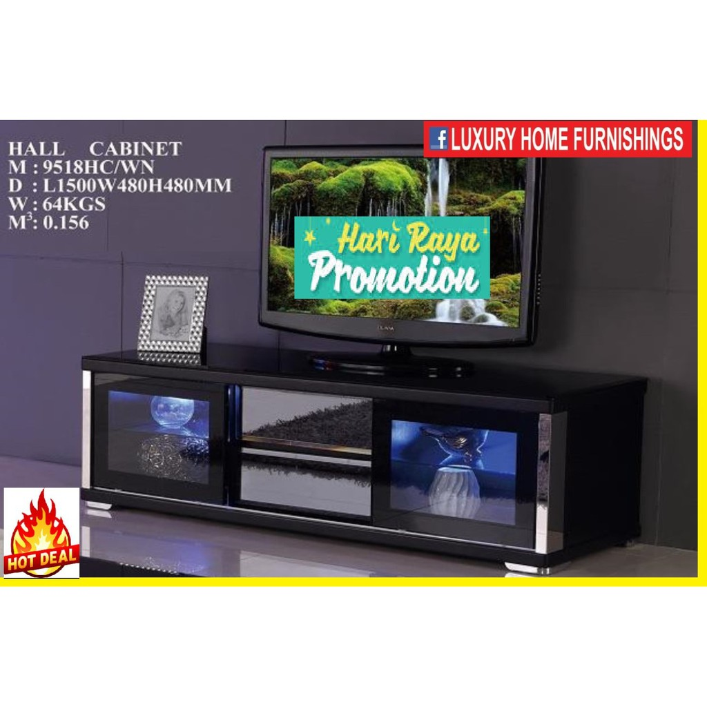 5ft High Gloss & Term-pared GLASS TOP Modern TV CABINET, Dark Brown COLOR, IMPORTED Series!! RM 1,549!! 35% Off!