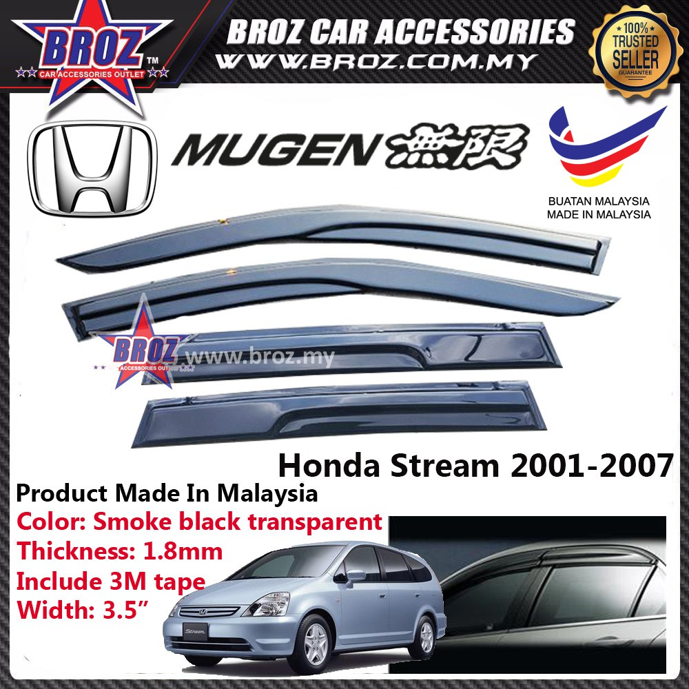 Air Press Window Mugen Acrylic Door Visor For Honda Stream 2005 (4Pcs x 9cm)