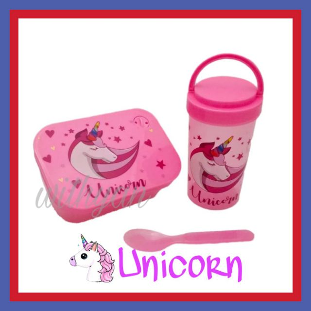 Ready Stock Unicorn Lunch Box Set With Water Drink Bottle