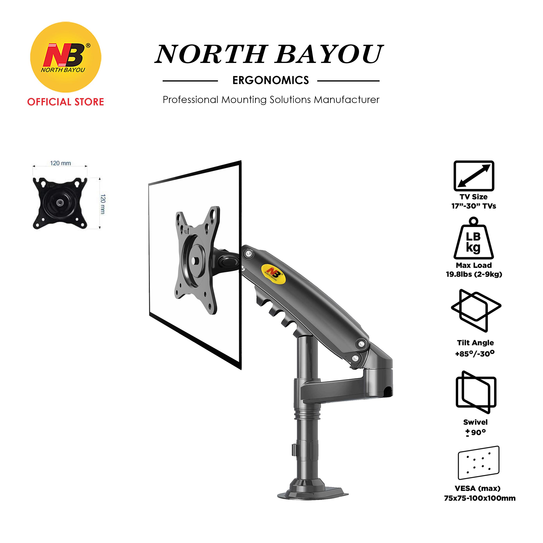 "NB North Bayou H80 Desktop Gas Spring 17-27"" LCD LED Monitor Holder TV Mount Arm Full Motion Ergonomic Monitor Desk Stan"
