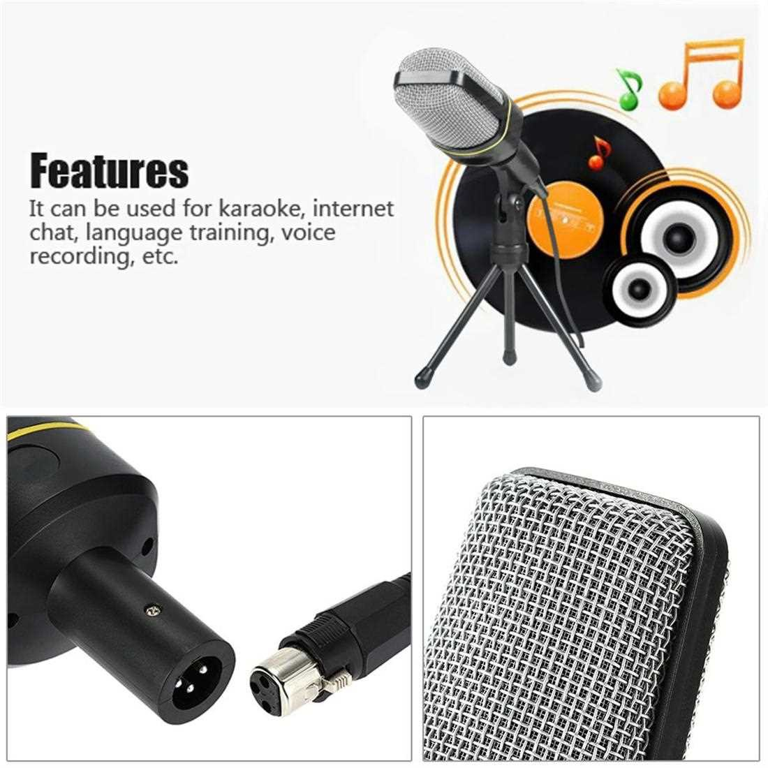 Desktop Microphone with Tripod Professional Podcast Studio Microphone For Laptop/PC (3.5mm Jack/2.1M-Cable) For Recordi