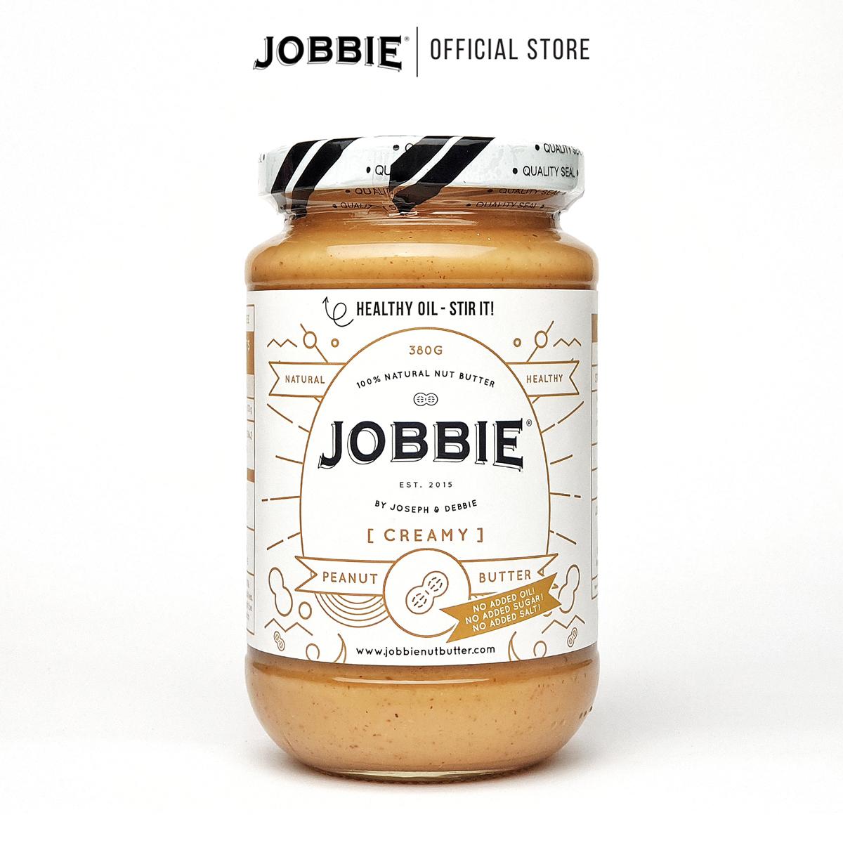 JOBBIE Peanut Butter - Creamy Pure (380g) - No Sugar & Salt