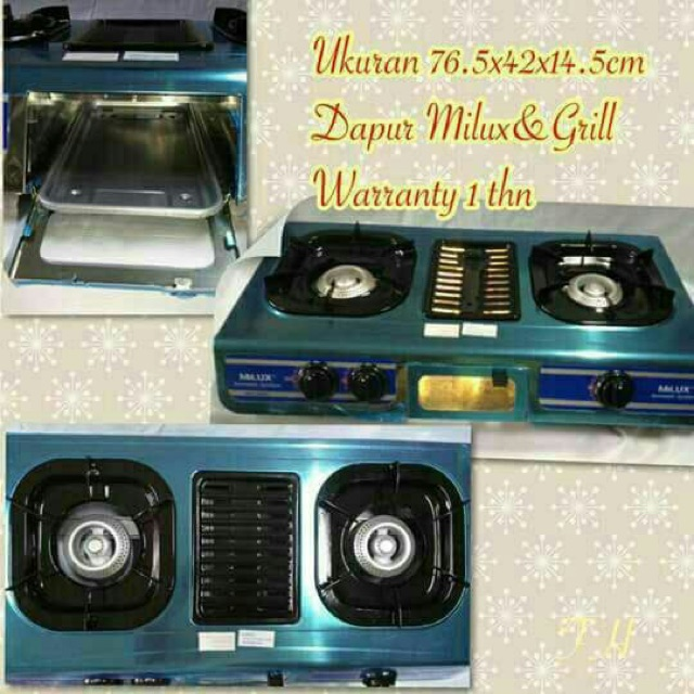 Milux Ssteel Double Burner With Grill Gas Cooker Dapur Panggang Mss 2500g Sho Malaysia