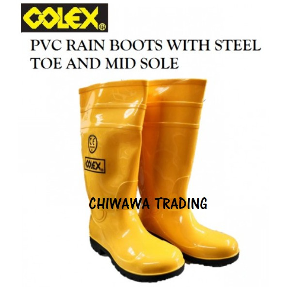COLEX Yellow Safety Rain Boots with Steel Toe & Mid Sole Shoes Kasut Kuning